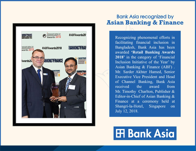 Bank Asia Recognized By Asian Banking & Finance