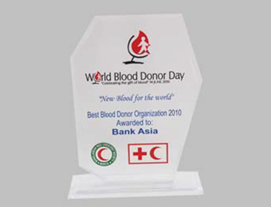 "Bank Asia received the ""Best Blood Donor Organization"" from Bangladesh Red Crescent Society on 2010"