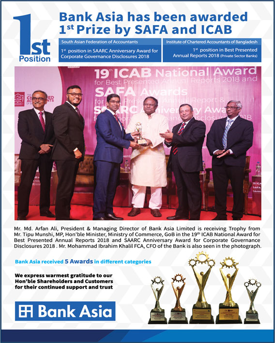Bank Asia has been awarded 1st prize by SAFA and ICAB