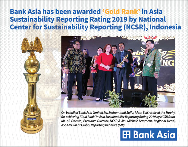 Bank Asia awarded Gold Rank in Asia Sustainability Reporting Rating 2019 Award  by NCSR, Indonesia