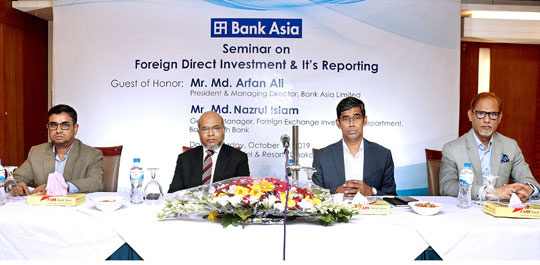 Bank Asia organized a seminar on Foreign Direct Investment (FDI) & It's Reporting