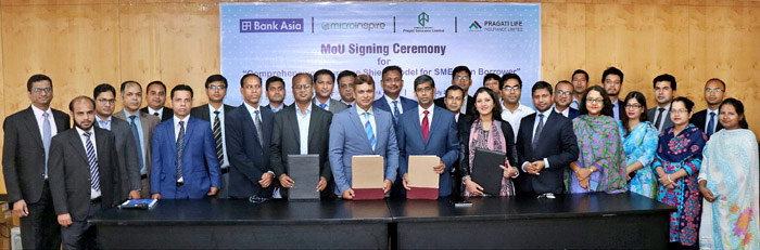 Bank Asia Ltd., Pragati Life Insurance Ltd., Pragati Insurance Ltd. and Microinspire signed an MoU to support SME borrowers