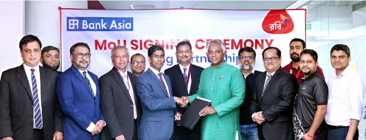 An MoU is signed between Bank Asia Ltd. & Robi Axiata Ltd.